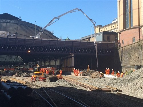Concrete being poured from Cathedral Street for station platforms