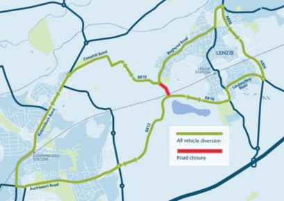 Crosshill Road Diversion Map